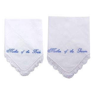 Mother of the Bride and Groom Crocheted Handkerchief Set in Blue