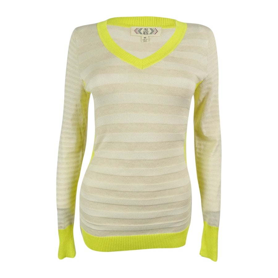 PINK ROSE Juniors Long-Sleeve V-Neck Cable-Knit Top