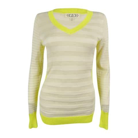 Pink Rose Juniors' Striped V-Neck Sweater