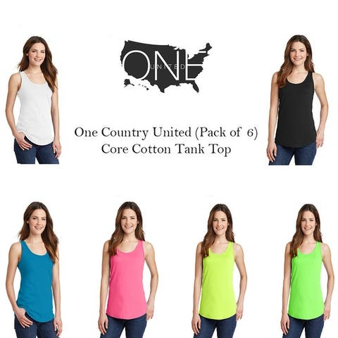 One Country United Women's Core Cotton Tank Tops. Assorted Colors