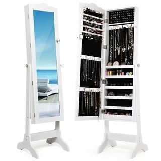Costway Mirrored Jewelry Cabinet Organizer Storage Box Stand White