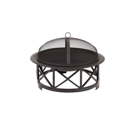 """Fire Sense 60904 30"""" Round Wood Burning Fire Pit with Protective Fire Screen - - Black"""