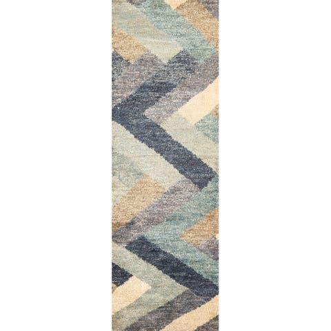 "Chevron Style Moroccan Oriental Hallway Runner Rug Hand-knotted Carpet - 2'6"" x 7'11"""