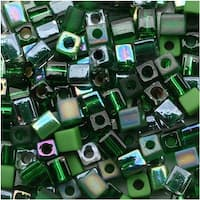 Miyuki 4mm Glass Cube Bead Mix Green Medley 10 Grams