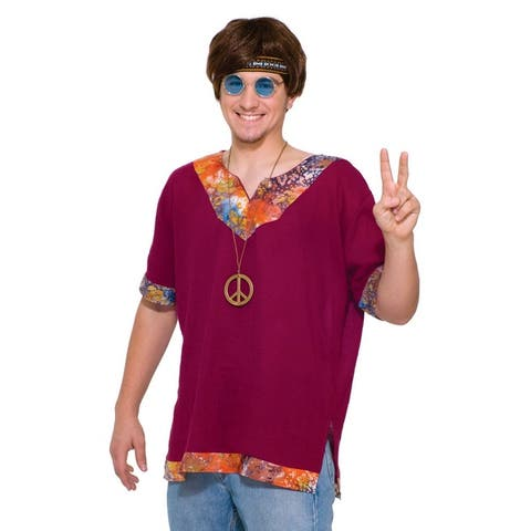 Groovy Hippie Costume Shirt Adult - Purple