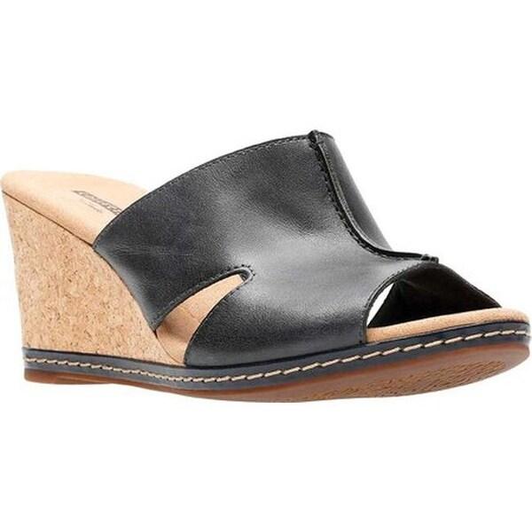 775fa55da25 Shop Clarks Women s Lafley Mio Wedge Navy Full Grain Leather - On ...