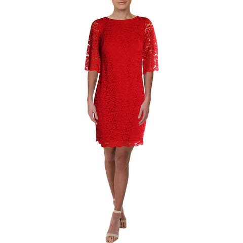 Lauren Ralph Lauren Womens Petites Cocktail Dress Lace Elbow-Sleeve