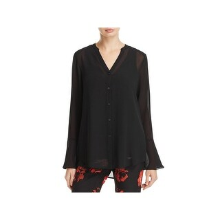 Foxcroft Womens Blouse Layered Sheer