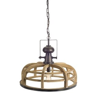 """58.5"""" Brown and Black Geometrical Wood Caged Electric Pendant Hanging Lamp"""