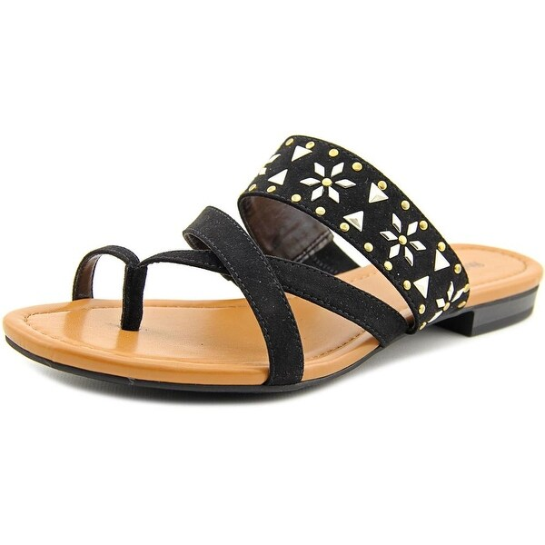 Style & Co Behati Women Open Toe Suede Black Thong Sandal