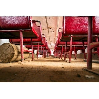 Red Seats On Bus Canvas Wall Art Photograph