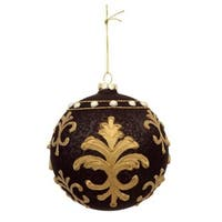 "4.5"" Matte Black and Gold Victorian Floral Patterned Glass Ball Christmas Ornament"