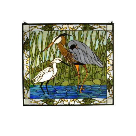 """Meyda Tiffany 62955 30"""" W X 27"""" H Blue Heron & Snowy Egret Stained Glass Window"""