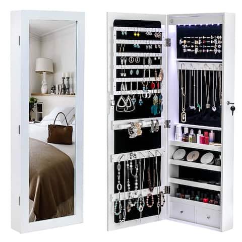 "42"" Wall/Door Mounted Jewelry Storage Mirror Cabinet"
