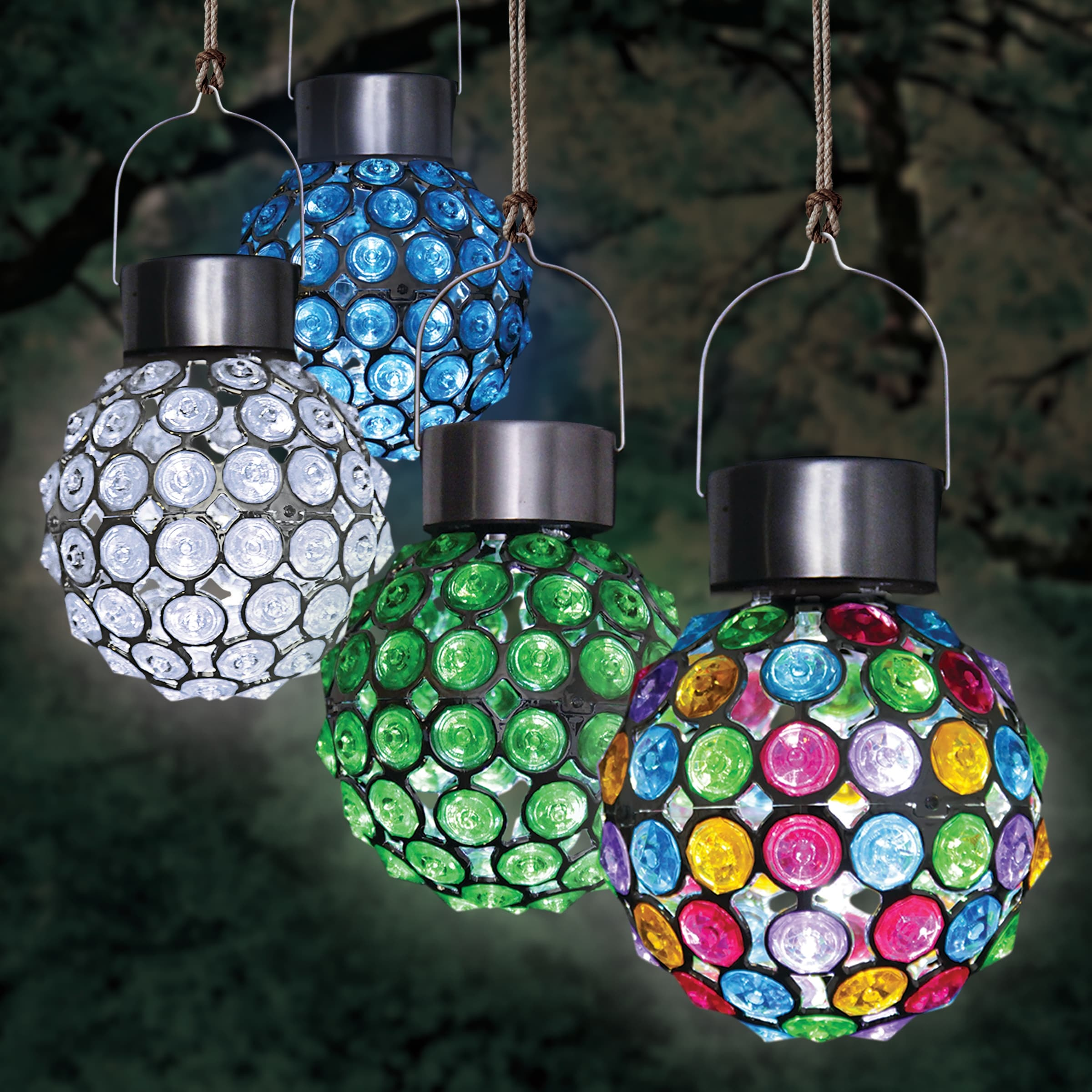 Shop Black Friday Deals On Exhart Solar Hanging Acrylic Ball Lights Set Of Four 4 By 6 Inches Overstock 28313369