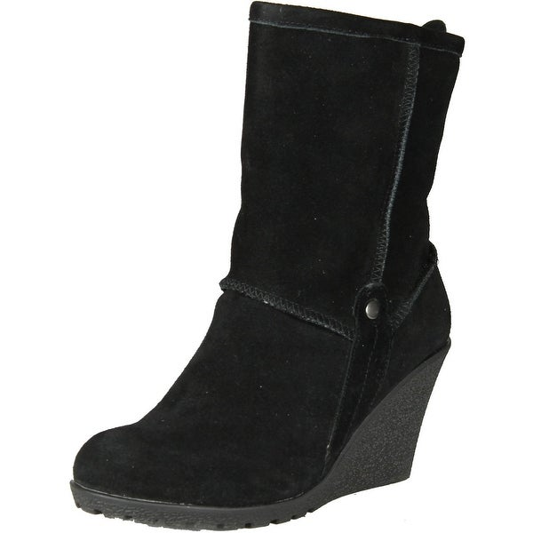 Gcny Good Choice Womens Luxe Fashion Wedge Boots - black.