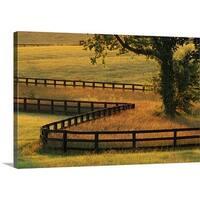 Premium Thick-Wrap Canvas entitled Fence on horse farm at sunrise, Versailles, Kentucky, USA