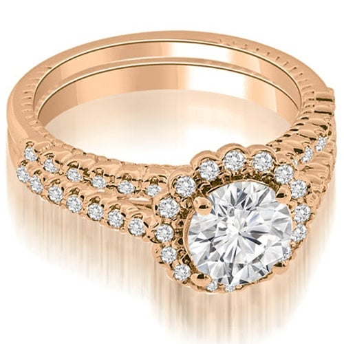1.44 cttw. 14K Rose Gold Antique Halo Round Cut Diamond Bridal Set