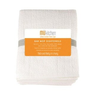 "Mukitchen 6620-1200 Bar Mop Towel, Cotton, 16 "" x 18"", White"
