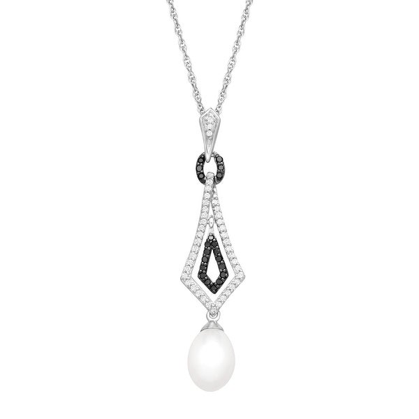 Freshwater Pearl and 1/4 ct Black and White Diamond Pendant in Sterling Silver