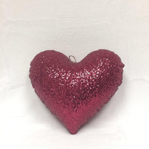 """12"""" Sparkly Raspberry Inflatable Sequin Heart Christmas Ornament - PURPLE"""