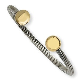 Chisel Gold Accented Polished Stainless Steel Cuff Bangle Bracelet
