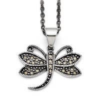 Chisel Stainless Steel Butterfly Marcasite Necklace (2 mm) - 18 in