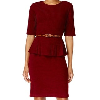 Connected Apparel NEW Red Women's Size 14 Belted Knit Peplum Dress