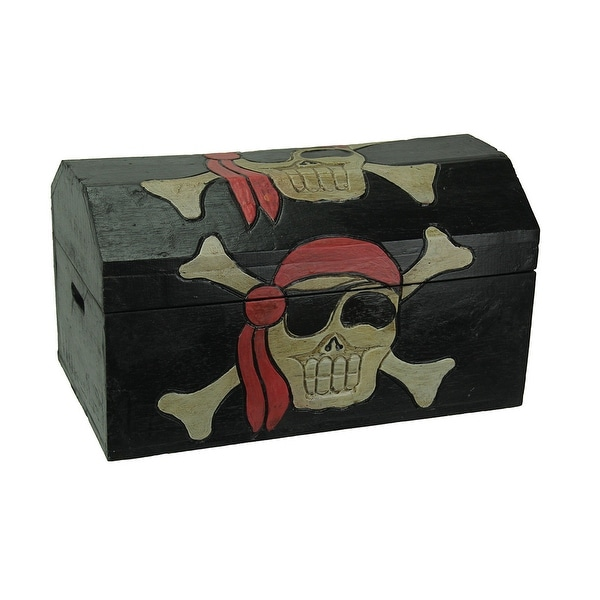 Bon Wooden Pirate Skull Treasure Chest Storage Box