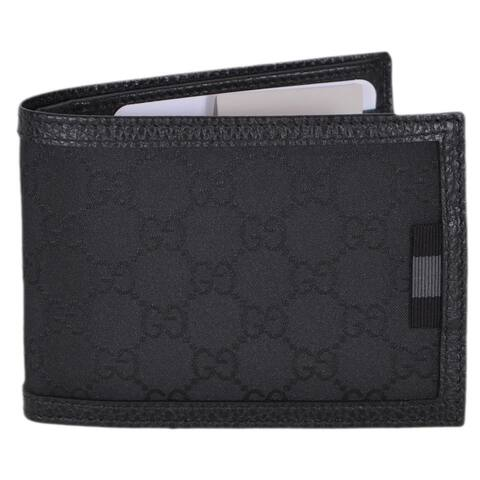 "Gucci Men's 278596 Black Canvas Web Tab GG Guccissima Bifold Wallet - 5"" x 3.75"""