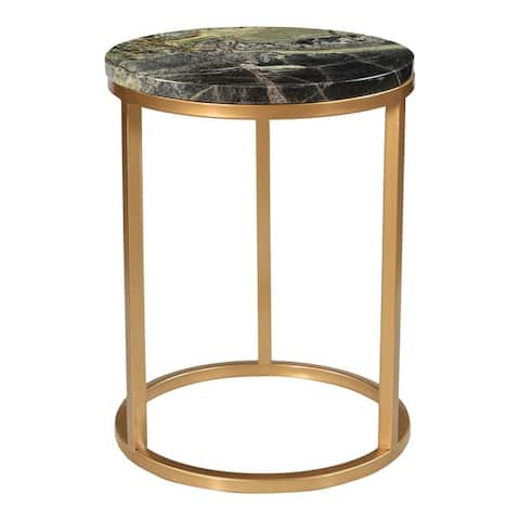 Aurelle Home Marble and Antique Brass Accent Table