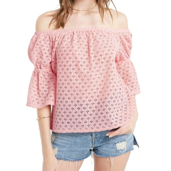 8a1ba11d034 Shop Soprano Pink Women's Large L Off-Shoulder Lace Bubble-Sleeve ...