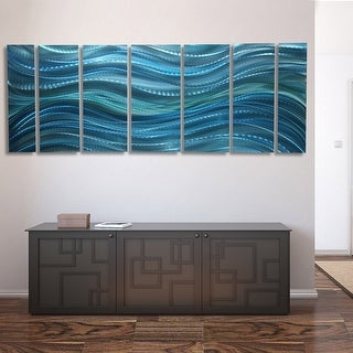 Statements2000 Large Modern Metal Wall Art Ocean Water-Inspired Painting by Jon Allen - Calm Before the Storm