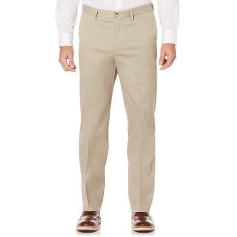 Savane Mens Chino Pants Beige Size 44x28 Flat Front Performance Stretch