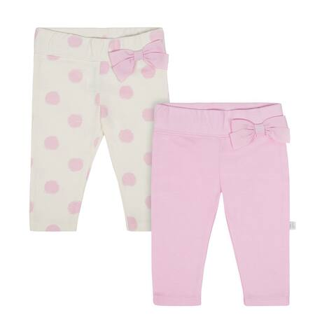 Baby Girl Just Born 2-pack Slim Pants - pink/taupe