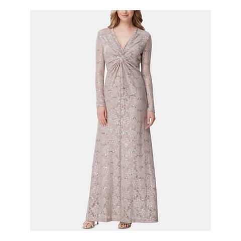 TAHARI Womens Beige Long Sleeve Maxi Sheath Evening Dress Size 10
