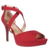 MG35 Helenah Cross Strap Peep Toe Platform Heels, Red