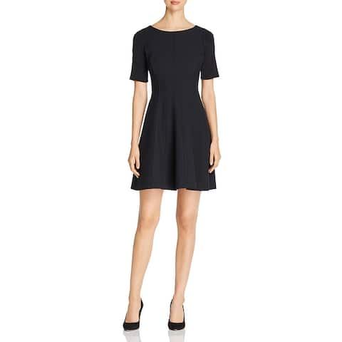 Elie Tahari Womens Kelsey Wear to Work Dress Houndstooth Short Sleeves