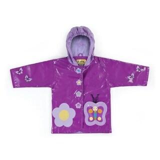 Kidorable Little Girls Purple Butterfly Flower Hooded Rain Coat 2T-6X