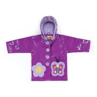 Kidorable Little Girls Purple Butterfly Flower Hooded Rain Coat 2T-6X (More options available)