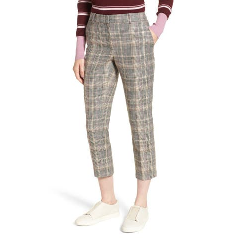 Nordstrom Signature Brown Womens Size 12 Wool Stretch Plaid Pants