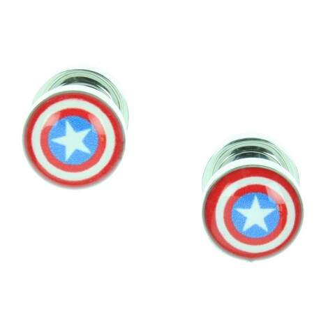 Marvel Captain America Logo Screw Fit Steel Plugs Set