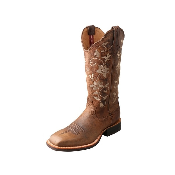 Twisted X Western Boots Womens Ruff Stock Floral Tabs Brown
