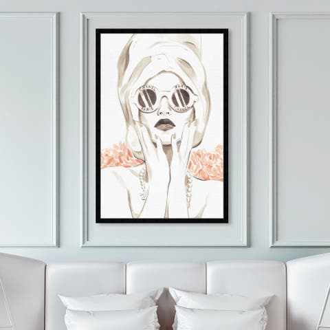 Oliver Gal 'Bath Bomb Beauty' Fashion and Glam Framed Wall Art Prints Portraits - White, Orange