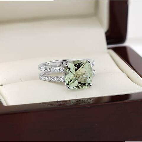 Auriya Modern 3ct Cushion-cut Green Amethyst and Diamond Engagement Ring 1/4cttw 14k Gold