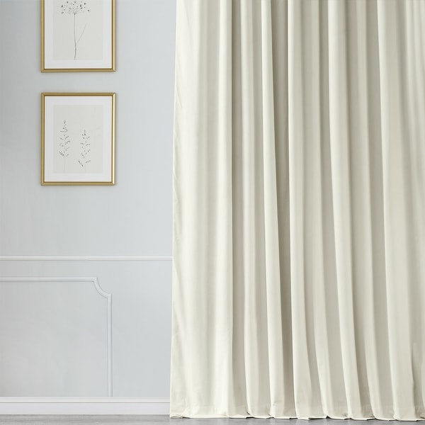 Exclusive Fabrics Off White Velvet Blackout Extra Wide Curtain Panel. Opens flyout.