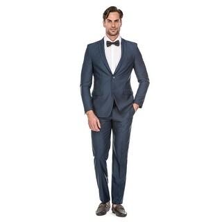 Porto Filo Teal Blue 2Pcs Slim-Fit Men's Suit (Jacket+ Pant)