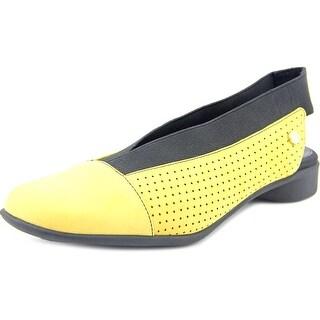 J. Renee Niro Women N/S Open-Toe Leather Yellow Flats