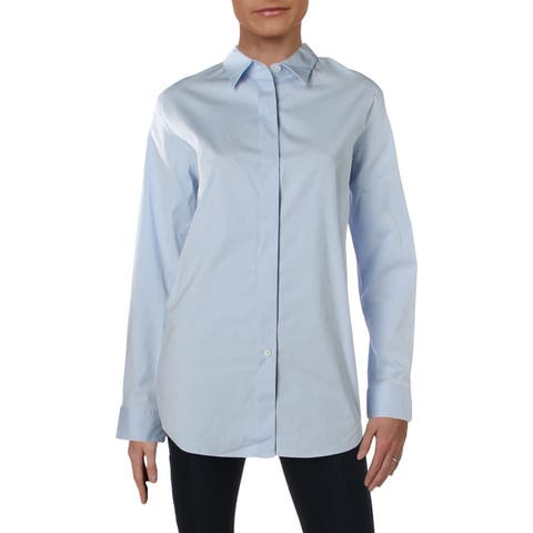 Theory Womens Essential Button-Down Top Stretch Long Sleeves - L