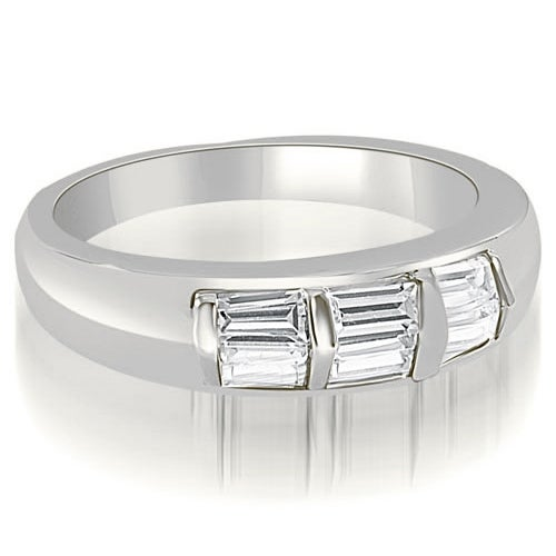 0.70 cttw. 14K White Gold Bar Set Baguette Diamond Wedding Band